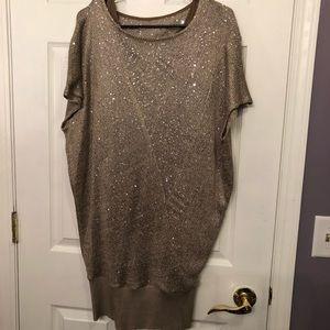 """ICE"" brand. Size Lg. Beige/tan sparkle dress."